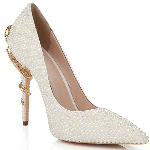Fashion Pearl - Zapatos de novia con tacón alto y punta de...