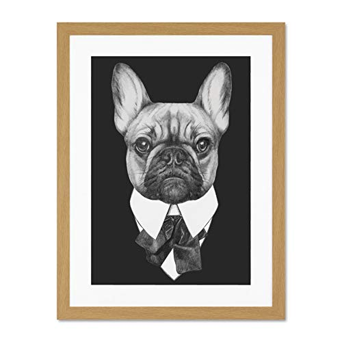 Wee Blue Coo Bow Tie French Bulldog Drawing Póster de Pared de Cuadros Grandes...