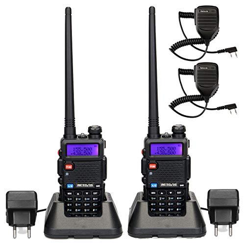 Retevis RT5R Funkgerät mit Mikrofon Walkie Talkie 128 Kanäle FM Radio Dualband 2m/70cm Funkgeräte Wiederaufladbar Lange Reichweite Funkgerät mit VOX DTMF Amateurfunk Handmikrofon(1 Paar, Schwarz)