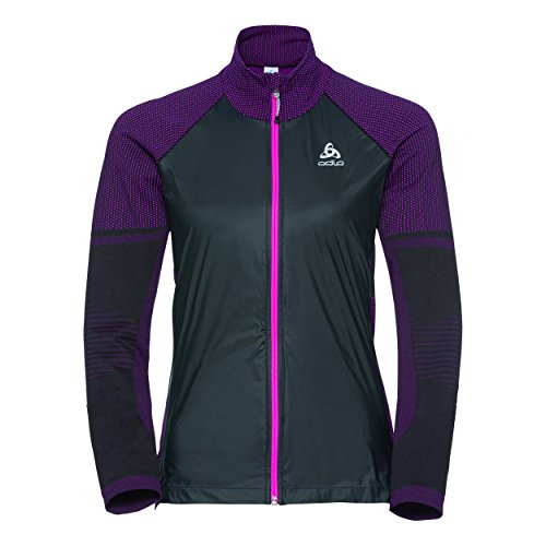 Odlo Damen Velocity Element Jacket Sportjacke, Mehrfarbig (Black/Pink Glow 60096), 32 (Herstellergröße: Small)
