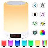 Bluetooth-Lautsprecherlampe, Smart Touch Sensor Nachtlicht mit Wecker FM-Radio, dimmbare 7-Farben-RGB-Nachttischlampe für Schlafzimmer, tragbare