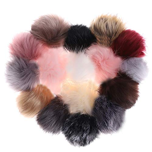 Abgream 16 Pieces Faux Fur Pom Pom Balls - DIY Mix Colors Fluffy Pompom Ball with Elastic Loop for Knitting Hats Keychains Scarves Shoes Bags Accessories (Style A)