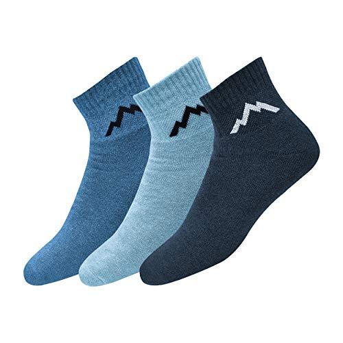 Ranger Sport Ankle Men's Heavy Duty Cotton Quarter Length Athletic Socks, Pack of 3 (Multi-coloured)