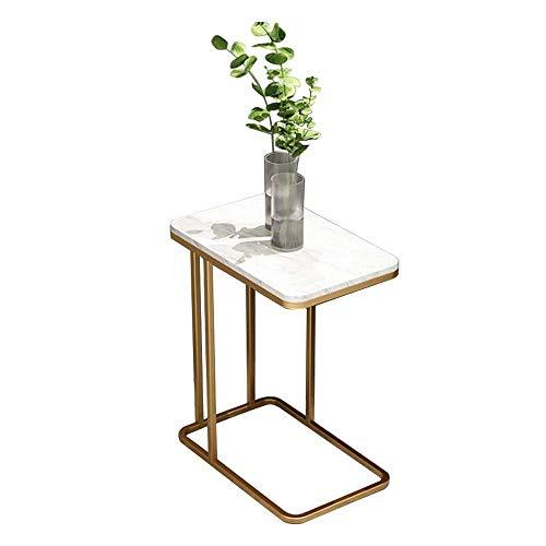 LYYJIAJU Small Coffee Tables Living Room Mini Coffee Table, Marble Surface Metal Material, Simple Modern Creative Small Table Home Sofa Table Nordic Living Room Marble Corner Table (Color : White)