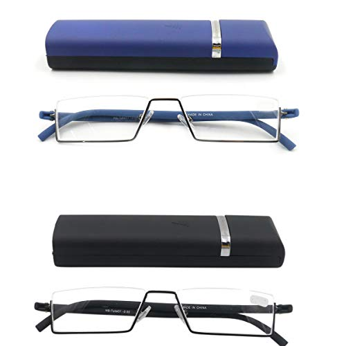 2 Pack- Rimless Nearsighted Shortsighted Driving TV Distance Eye Glasses with Tube Portable Storage Tube for Men Women (-1.00)