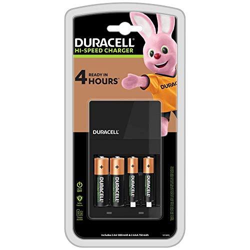 Duracell - Caricabatterie da 4 Ore, con incluse batterie ricaricabili, 2 AA + 2 AAA