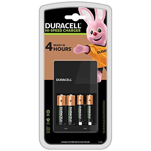 Duracell - Caricabatterie da 4 Ore, con incluse batterie ricaricabili, 2 AA + 2 AAA