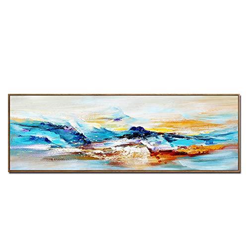 Cuadro En Lienzo,Abstracto pintura al óleo sobre lienzo Impresiones De póster arte de La Lona Arte De La Pared coloridas imágenes de montaña para la decoración de la sala de estar(sin marco) 60x180cm
