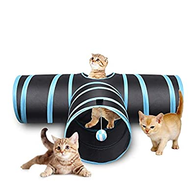 3 Way Cat Tunnel, Creaker Collapsible Pet Toy Tunnel with Ball for Cat, Puppy, Kitty, Kitten, Rabbit