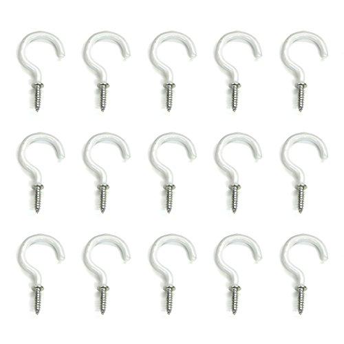 Aoyoho 60Pcs Vinyl Coated Screw-in Ceiling Hooks Cup Hooks Light Hooks 1-1/4 inch (White)