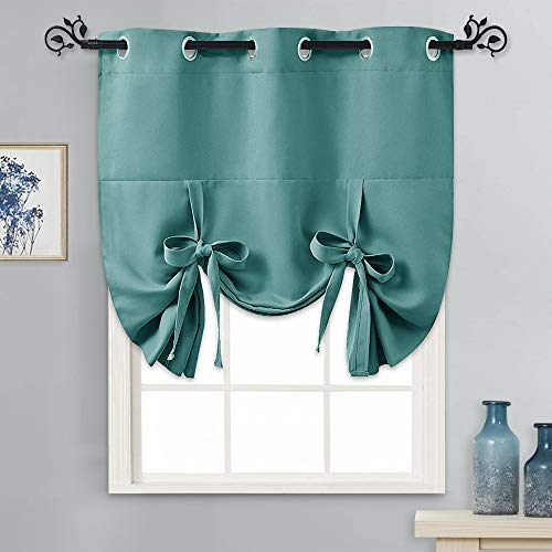 PONY DANCE Blackout Shades Bathroom Curtain - Tie Up Curtain Roman Balloon Shade Small Window Curtain Covering for Cafe/Kitchen, 46 Wide by 63 Inches Long, Sea Teal