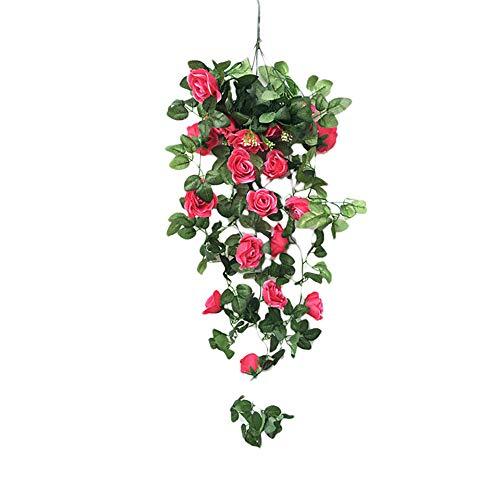 Artificial Hanging Flower Plants Fake Vine Silk Rose Flower Ivy Greeny Plants Artificial Basket Flower Garland for Indoor Outdoor Decor(Rose red) Silk Flower Arrangements