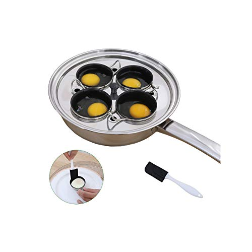 Egg Poacher Pan - Stainless Steel Poached Egg Cooker – Perfect Poached Egg Maker – Induction Cooktop Egg Poachers Cookware Set with 4 Nonstick Large Silicone Egg Poacher Cups