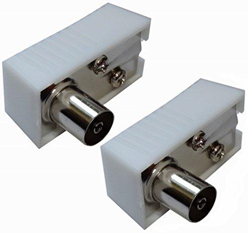 Aerzetix - 2 x connettore presa spina antenna TV femmina 9,5 mm ad angolo IEC 169 - 2 coassiale per prolunga .