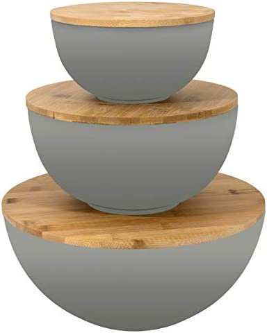 Salad Bowl with Lid Large Salad Bowl Set of 3 with Wooden Lids Bamboo Fibre like Melamine Mixing product image