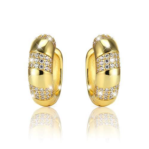 PAVEL'S Pendientes de aro GOLDEN GLAM LIGHT para mujer chapado en oro de 18 quilates con circonita 5A, incluye una elegante caja de regalo y bolsa brillante
