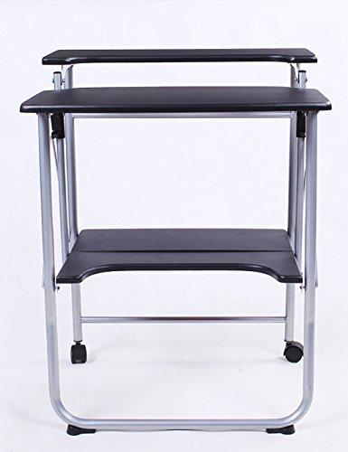 Ordinateur Portable Double-Pont Moderne Simple Bureau Bureau Pliant Noir (Couleur : B, Taille : L*W*H: 57 * 50 * 78cm)
