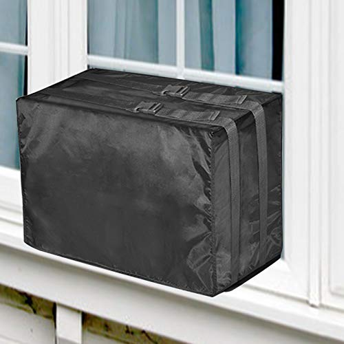 TRELC Window Air Conditioner Cover Outdoor, Air Conditioner Defender Winter AC Window Unit Cover with Adjustable Straps, Bottom Covered (Black, 21.26 x14.56 x 15.74 inch)