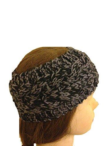 Schwarz/ hellgrau gemischten farbige Wolle, maschinenStrick StirnBand. Warme Winterstirnband. (Black/light grey mixed coloured woollen machine knitted headband. Warm winter headband)