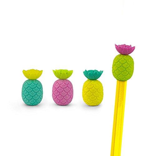 Mustard - Gomma da cancellare con matita ad Incastro per scuola e bambini - Colori Assortiti Ananas - 10 pezzi