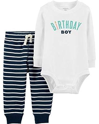 Carter's Baby Boy's 2-Piece Birthday Boy Bodysuit and Pants Set (12 Months, Blue/White)