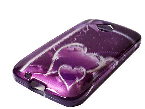 for Motorola Moto E E2 LTE (2nd Gen. 2015) Hard Protector Phone Cover Case + Happy Face Phone Dust Plug (Purple Ribbon Heart)
