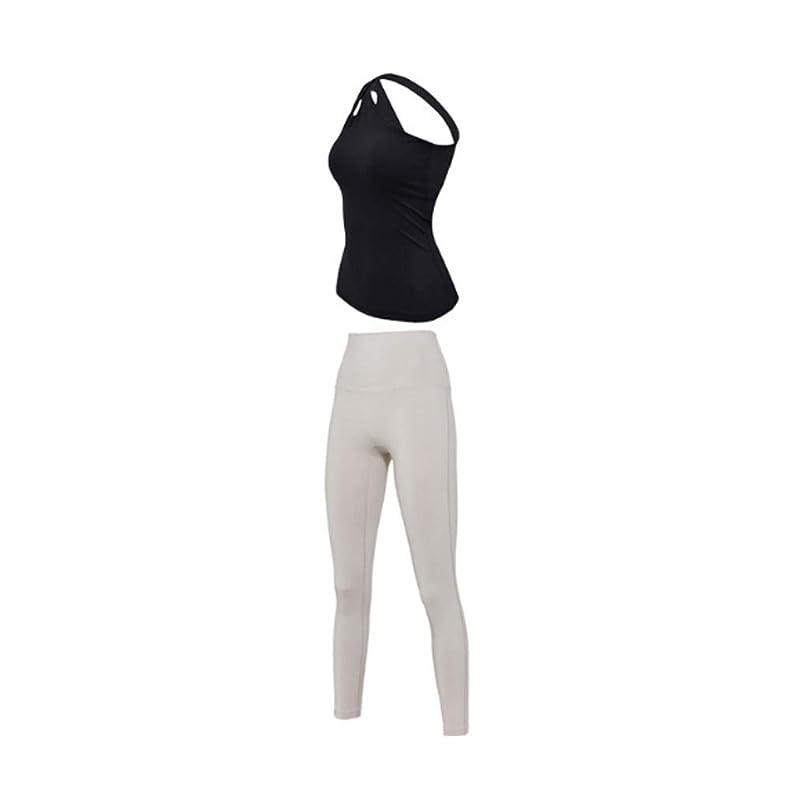 女の子肺許されるツーピースの女性のヨガウェアカジュアルスポーツスーツランニングフィットネススーツモーニングランニングヨガスーツ (Color : Black, Size : XL)