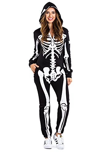 Tipsy Elves' Women's Skeleton Costume - Scary Black and White Halloween Jumpsuit Size X-Large
