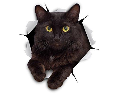 Winston & Bear Stickers de gato 3D gato negro Cheeky - Pack 2 - adhesivo para la pared, nevera