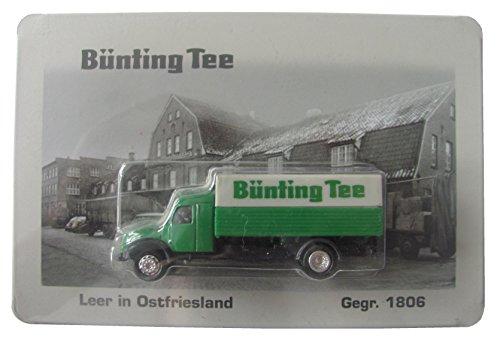 Grüngold Nr.04 - Bünting Tee - Leer in Ostfriesland - Blechschild ca. 19 x 12,5 cm mit Truck - Magirus S6500 - Oldtimer