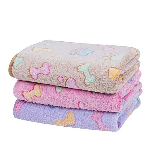 Dono 1 Pack 3 Blankets Soft Fluffy Cute Bone Pattern Fleece Pet Blanket Warm Sleep Mat Cute Print...