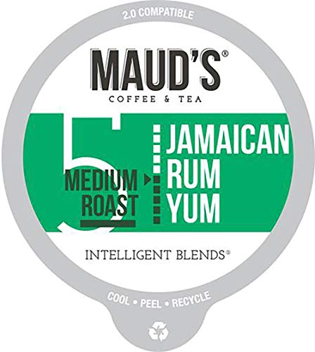 Maud's Jamaican Rum Flavored Coffee (Jamaican Rum Yum), 60ct. Recyclable Single Serve Coffee Pods – Richly Satisfying Arabica Beans California Roasted, K-Cup Compatible Including 2.0