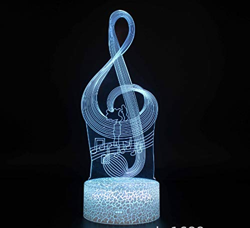 Music Note 3D Night Light 7 Colores Decoración Del Hogar L�