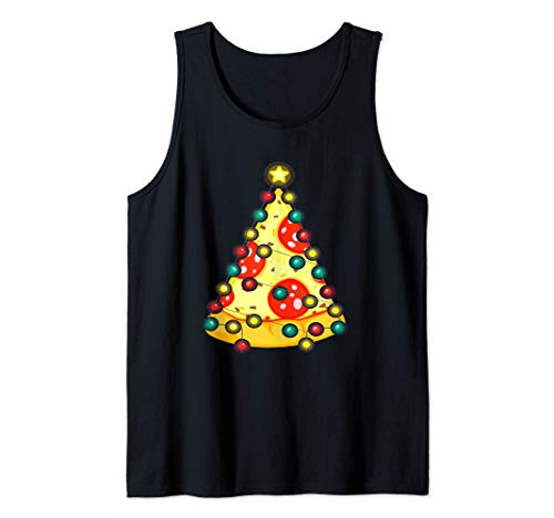 Santa Pizza Christmas Twinkling Lights Funny Pizza Lover Tank Top