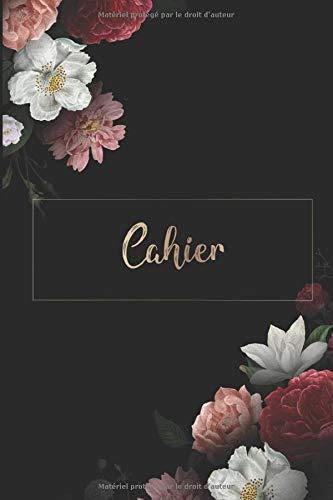 Cahier: DIN A5 / 15 x 23 cm - Blanc - 122 pages ou 61 feuilles - bloc note bullet journal cahier Noël noir avec des fleurs Fleurs Plante Aquarelle Aquarelle Or