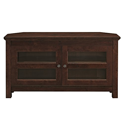 "WE Furniture Modern Farmhouse Wood Corner Universal Stand for TV's up to 50"" Flat Screen Living Room Storage Entertainment Center, Traditional Brown"