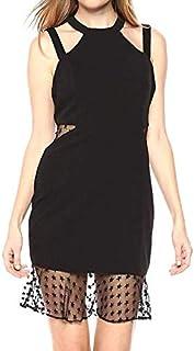 Bebe Women's Solid Sheath Dress With Mesh Inserts and Mesh Ruffle Hem Cocktail Dress