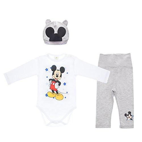 Disney Baby Mickey Mouse Jungen 3teiler Set mit Ohren-Mütze, unterschiedliche Modelle, in Größe 56 62 68 74 80 86, Baumwolle, Body, Hose und Mütze Farbe Modell 5, Größe 86