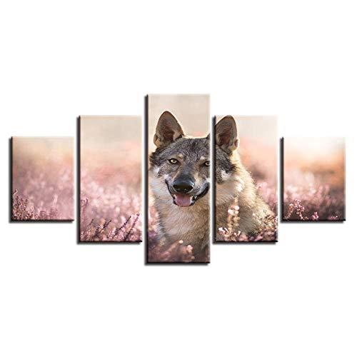 LWJPD Cuadro en Lienzo 5 Partes Impresión De HD Pintura Arte De La Pared Modular Animal Lobo Lienzo Sala De Estar Imagen Decoración del Hogar Cartel Moderno Sin Marco 60 Inch