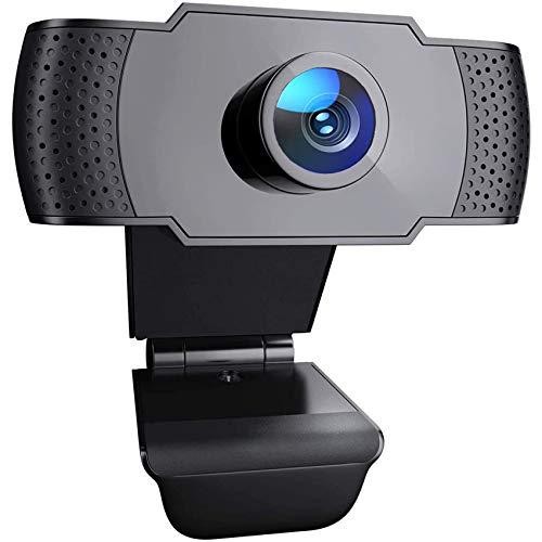 iAmotus Webcam 1080P Full HD, Webcam per PC con Microfono Riduzione del Rumore Web Camera USB Plug And Play PC Desktop o Laptop per Videochiamate, Studio, Conferenza, Registrazione, Gioca a Giochi