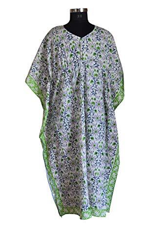 Handicraft Bazarr Indisches Damen-Kimono-Kleid, Tunika, Hippie-Bademantel, Pareo, lockerer Webstuhl, Maxi, handbedruckt, Baumwolle
