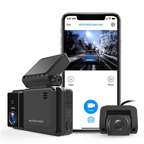 AUTO-VOX WiFi Dashcam 1080P Dual Vorne und Hinten, Autokamera mit Nachtsicht, 3 Zoll IPS Touchscreen mit GPS, G-Sensor, Parküberwachung, Notfallaufnahme, Loop-Aufnahme (AD2)
