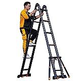 NMBD Extension Ladder téléscopique A-Frame, Aluminium Multi-Usage échelle télescopique avec Support Anti-Roll Bar et des Roues, la Charge maximale, 330 LB - Standard (Taille: 5.8m / 19ft)