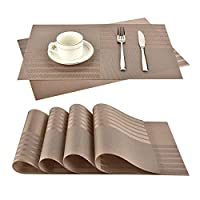 6ピース/セット PVC.滑り止めのまったく耐熱テーブルのマットのための洗濯テーブルの絶縁パッドの台所のアクセサリー (Color : Dark Khaki)