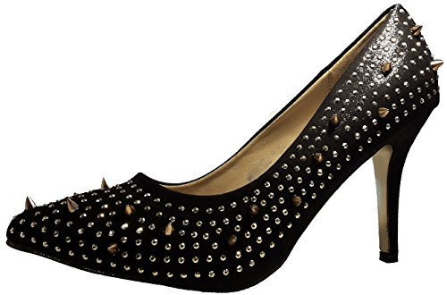 Extravagante Hardcore Stiletto Pumps High Heels mit abstehenden Nieten, Damenschuhe. Der ganz besondere Schuh für Damen. Schwarz. PHH123. Größe 38.