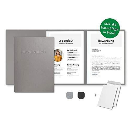 10 Stück 3-teilige Bewerbungsmappen Grau in feinster Lederstruktur - inkl. 10 Versandumschläge in Weiß - mit 2 Klemmschienen und hochwertiger Prägung ''BEWERBUNG'' - direkt vom Hersteller STRATAG