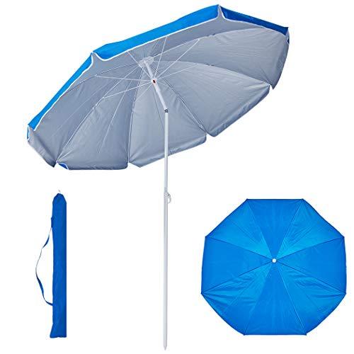 Duhome Sonnenschirm Ø160 cm Strandschirm Polyester höhenverstellbar neigbar Gartenschirm wasserabweisend mit Tasche Farbauswahl GB1800, Farbe:Hellblau