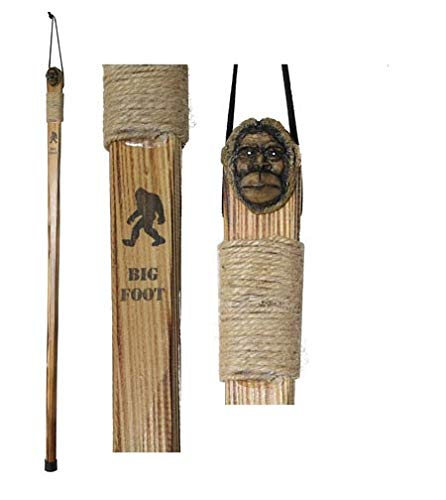 "Rustic Axentz Kids Children Wood Walking Trekking Hiking Pole Stick with Twine Grip, Rubber Tip, Wrist Strap, 38"", Carved Big Foot"