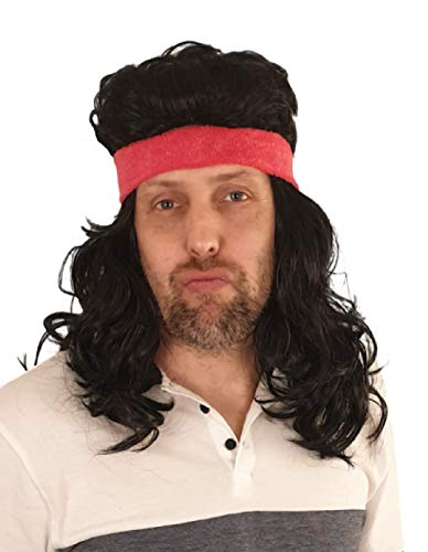 Mullet Wig 80s Vintage Rocker Long Blonde Brown Party Tennis Costume Pink Headband Included … (Black)