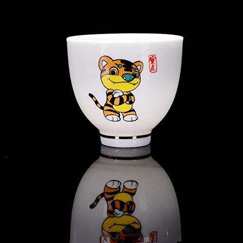 Dollin&Dockin keramische mok thee verkoeling mok Chinese kung-voet thee set cartoon dier, sterrenbeeld, tijger Chinese traditionele wijn glas wijn set huis decoratie 4 stuks